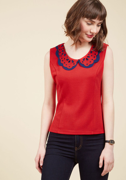 Tp1159 blouse top sleeveless top sleeveless princess layered navy red