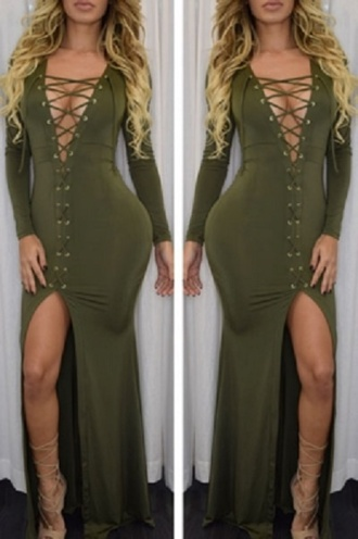 dress maxi slit sexy dress party dress chic trendy wots-hot-right-now maxi dress lace up green dress red dress grey dress sexy high slit dress cleavage deep v dress sexy party dresses girly celebrity style celebstyle for less