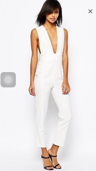jumpsuit asos white plunge neckline