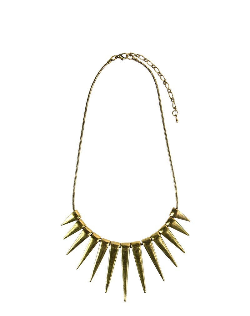 Adyna Gold Spike Necklace  | PrettyLittleThing.com