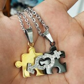 jewels,couples necklaces,his and hers necklaces,girlfriend boyfriend necklaces,girlfriend boyfriend gifts,matching pendants,connecting necklaces,men women necklaces,him and hers necklaces,couples christmas gifts,anniversary gifts,jigsaw puzzle necklaces,friendship necklaces