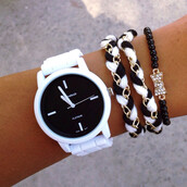 jewels,watch,bracelets,bows,black and white,studded beanies,cute,silicone,braided,stacked jewelry,braided bracelet