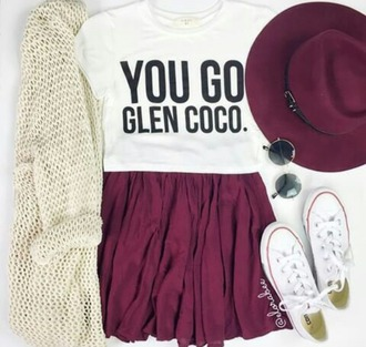 blouse skirt bag cardigan hat home accessory t-shirt fashion sweater outfit cute love converse fedora sunglasses skater skirt graphic tee grunge t-shirt grunge hipster style back to school outfit idea mean girls shirt mean girls shirt maroonskirt maroonhat yougoglencoco offwhitecardigan white print funny