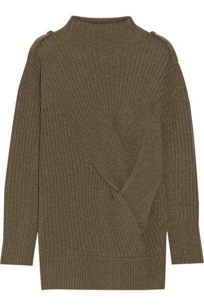 Rag & bone - Dale Twist-front Ribbed Merino Wool Sweater - Army green