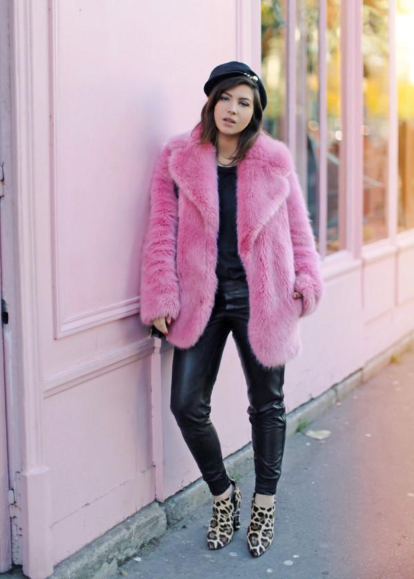 coat tumblr pink coat fur coat faux fur coat pants black pants black leather pants leather pants boots ankle boots hat fisherman cap