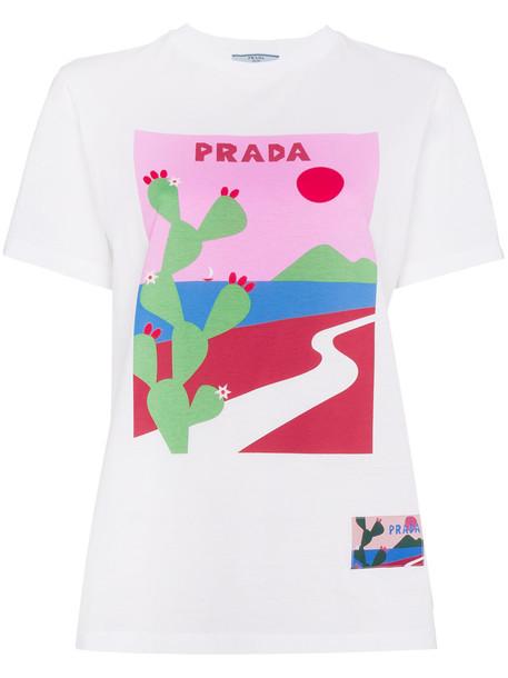 Prada t-shirt shirt t-shirt women cactus white cotton print top