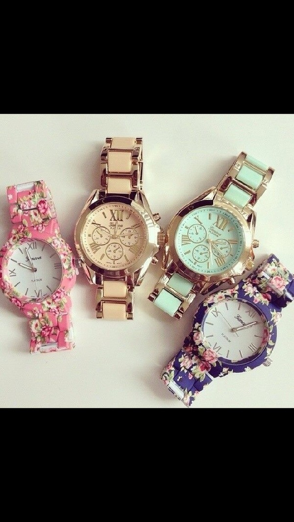 jewels watch hipster swag dope gold pink green