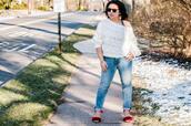 preppypanache,blogger,jeans,top,shoes,sandals