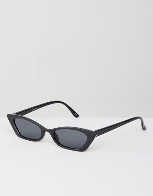 ASOS DESIGN squared off narrow cat eye sunglasses at asos.com