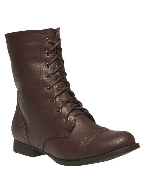 Solid Lace-Up Combat Boots | Wet Seal