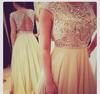 dress prom dress gold lace prom dress sparkle dress sequins modest gown