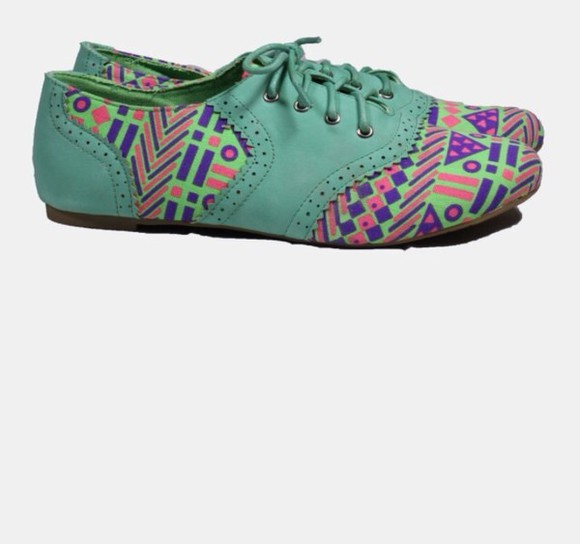 shoes mint green oxfords tribal pattern