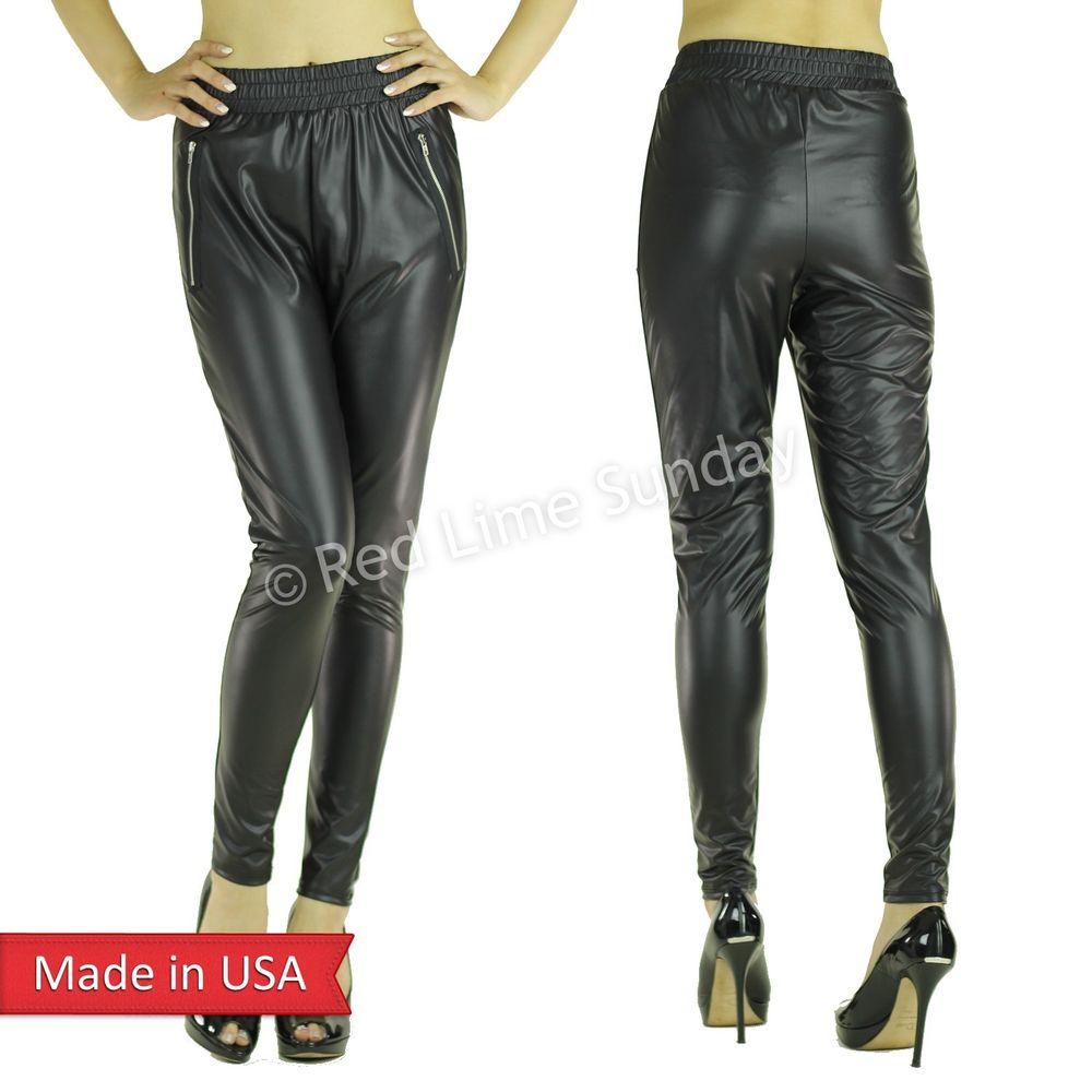 Matte Black Faux Leather Jogger Jogging Pants Leggings Bottom Trouser Zipper USA