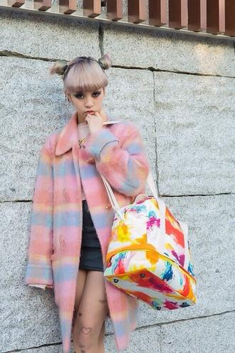 bag purse multicolor coat wool coat