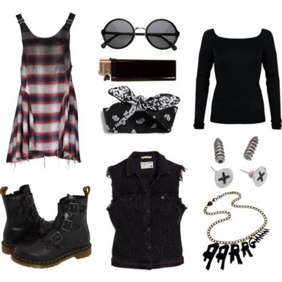 hipster goth flannel tartan short outfit tartan dress