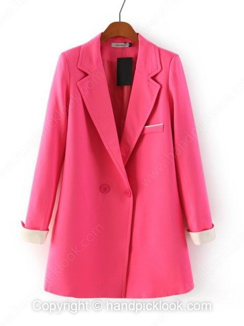 Fuchsia Notch Lapel Long Sleeve Pockets Blazer - HandpickLook.com