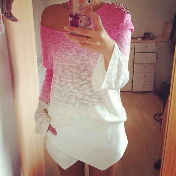 sweater ombre studs pink summer white ombre bleach dye ombre shirt shorts