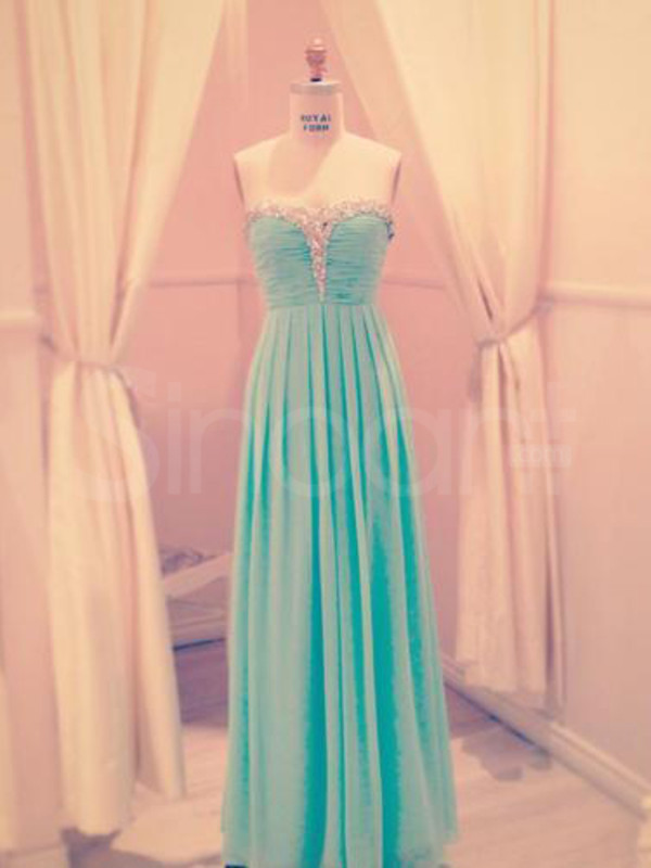 dress floor length dress with beadings and sequins bule chiffon dresss
