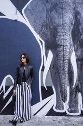 chicityfashion,blogger,stripes,wide-leg pants,leather jacket,striped pants,jacket,pants,shoes,bag,jewels,sunglasses