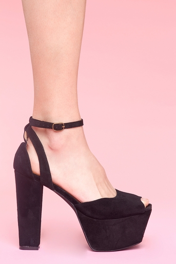 Black suede in  shoes at nasty gal