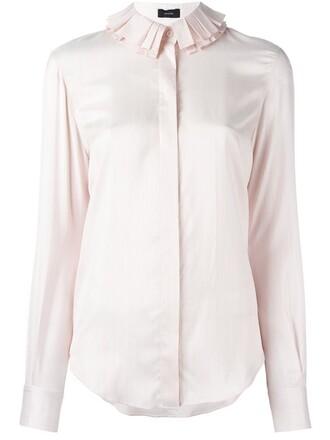 shirt collar shirt ruffle red top