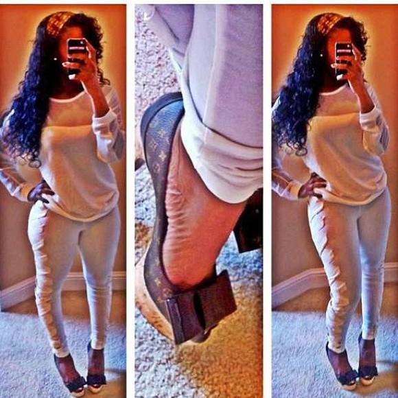 printed pants white leggings louis vuitton pumps swag jeans sexy classy