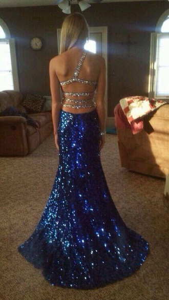 dress one shoulder sequin prom dress