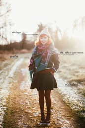 the clothes,blogger,hat,sweater,coat,scarf,skirt,tights,shoes,beanie,mini skirt,tartan scarf,ankle boots