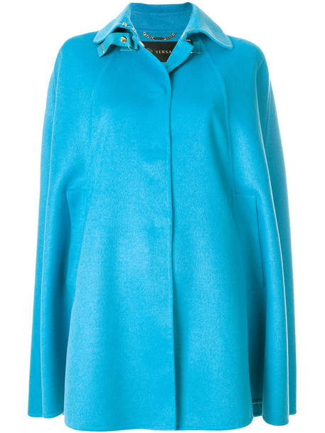 VERSACE coat oversized women blue silk wool