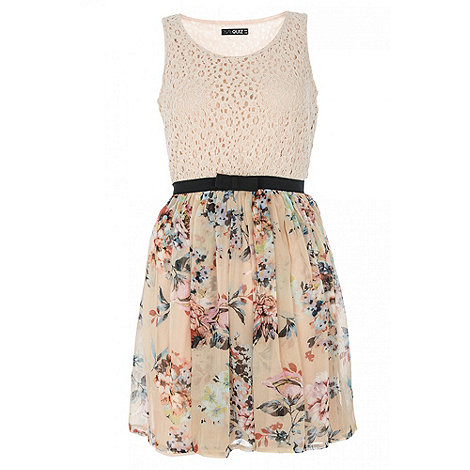Quiz Nude Lace Flower Print Skater Dress- at Debenhams.com