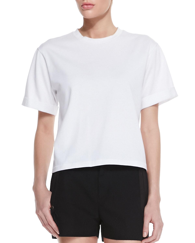 Trucker Tweed Pocket Vest, Oversized Boyfriend Tee & Tatiana Leather-Trim Shorts