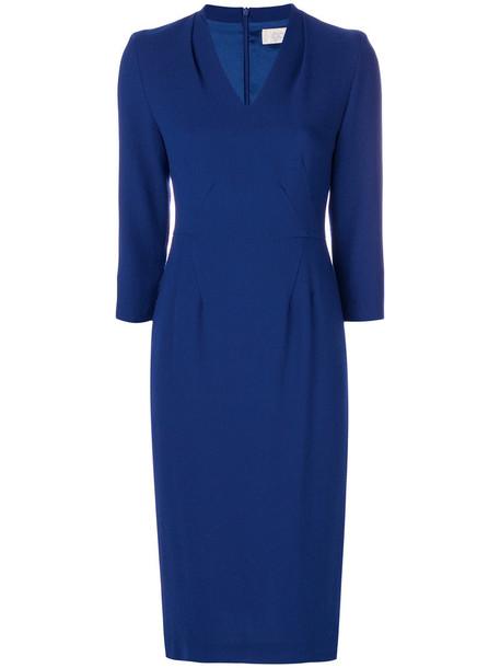 Goat dress women blue wool