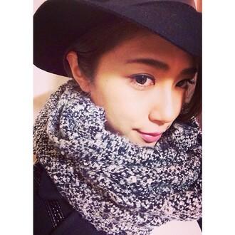 hat black hat big hat asian scarf