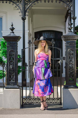what would karl do blogger hat purple dress sandals