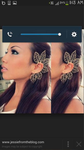 jewels earrings ear cuff leafs