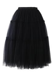 skirt,amore,tulle skirt,midi skirt,black