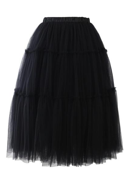 skirt amore tulle skirt midi skirt black