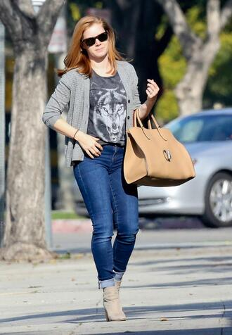 bag jeans amy adams spring outfits ankle boots shoes