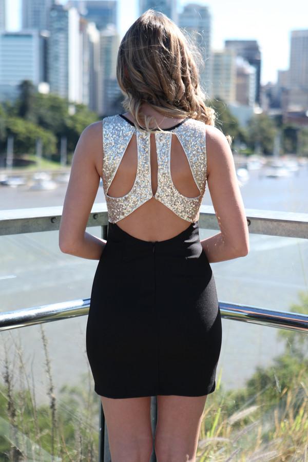 dress ustrendy ustrendy dress gold sequin back gold sequins cut out back cut out back dress cut-out