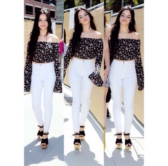 blouse camila cabello fifth harmony black floral top off the shoulder top