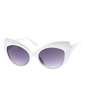 ASOS | ASOS Oversized White Cat Eye Sunglasses at ASOS