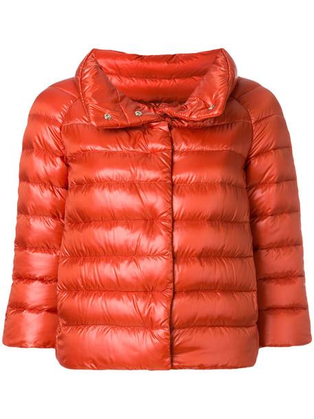 jacket puffer jacket cropped women cotton yellow orange