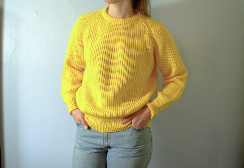 80's bright yellow sweater, Royal Knight brand, primary yellow ...