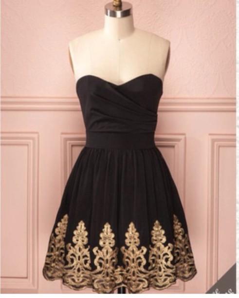 dress black dress gold trimmed elegant dress dress style