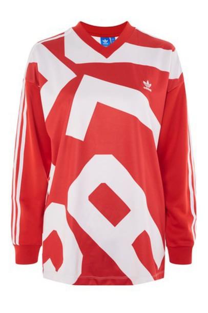 Topshop t-shirt shirt printed t-shirt t-shirt long adidas originals red top