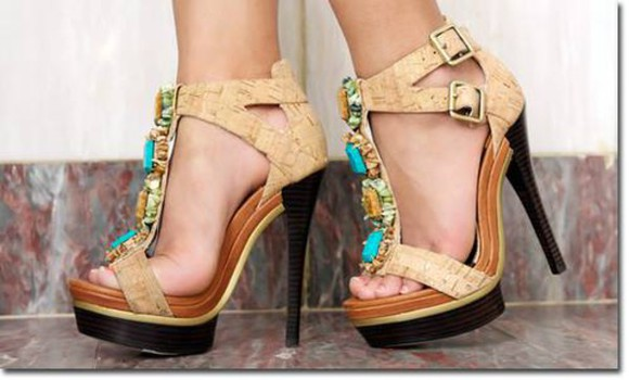 shoes nude sandals high heels tirquoise brown high heels