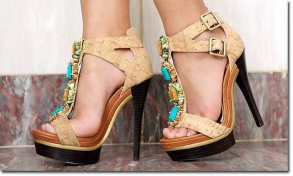 shoes nude sandals high heels tirquoise brown high heels