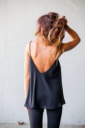 shirt,tank top,low back,top,black top,cute,spaghetti strap,blouse,beautiful,black,strappy top,classy,backless,backless top,sexy,hot,summer,ootd,strappy,flowy,cut-out,weheartit,swoop,black low back blouse,backless shirt,backless tank