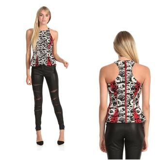 top peplum print circle rock racerback sleeveless flare fitted date night