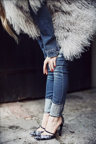 shoes fluffy sexy shoes high heels black heels skinny jeans denim jacket denim fuzzy coat fall outfits red nails fall accessories asos